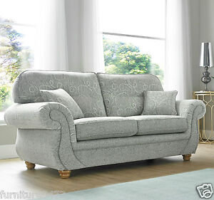 Image Is Loading Grey High Quality Fabric Material 3 Seater 2