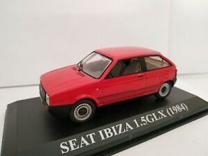 1-43-SEAT-IBIZA-1-5GLX-1984-COCHE-DE-METAL-IXO-ALTAYA-ESCALA-SCALE-CON-VITRINA