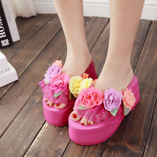 948f2253d165 item 3 Womens Lace Muffins Flower Platform Wedge Heels Beach Flip Flops  Sandals Slipper -Womens Lace Muffins Flower Platform Wedge Heels Beach Flip  Flops ...
