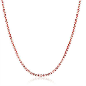 Link-Chain-Necklace-Solid-1-5MM-Rose-Gold-Plated-New-Fashion-Jewelry-18inch-Long