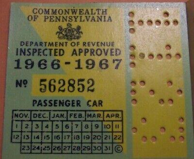 Vintage Original 1967 PA Pennsylvania Inspection Sticker Old Antique Car