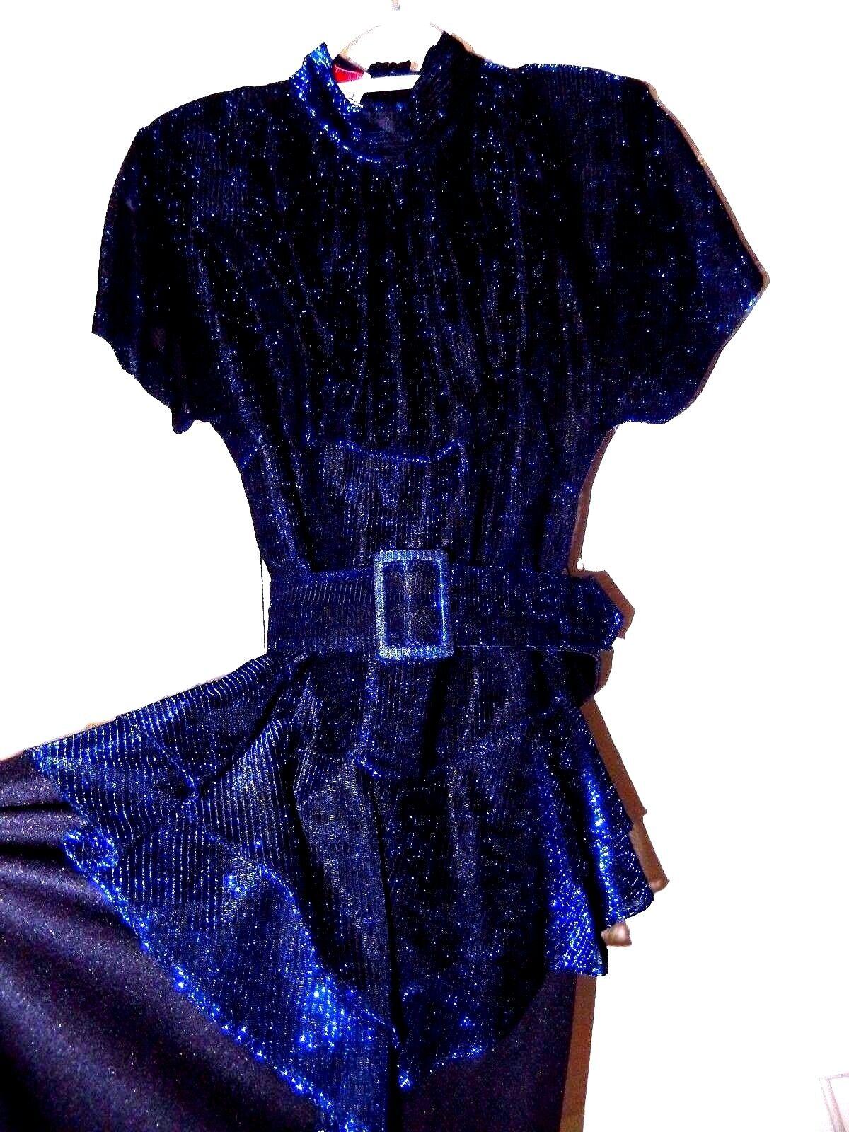 Vintage Diamond's Run Dress-5 6  WOW Styling & Sheer Midnight bluee Twinkle
