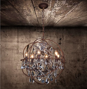 Foucaults Orb Clear K9 Crystal Chandelier 22 Rustic Iron Globe