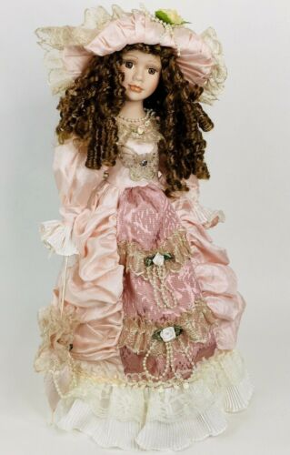 """20/"""" Porcelain Doll Pink Victorian Dress Parasol Hat Brown Hair /& Eyes with Stand"""