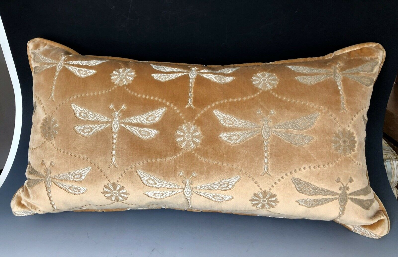 Jahari Ikat Printed Silk Lumbar Pillow Cover 14 x 22 Blue  NEW