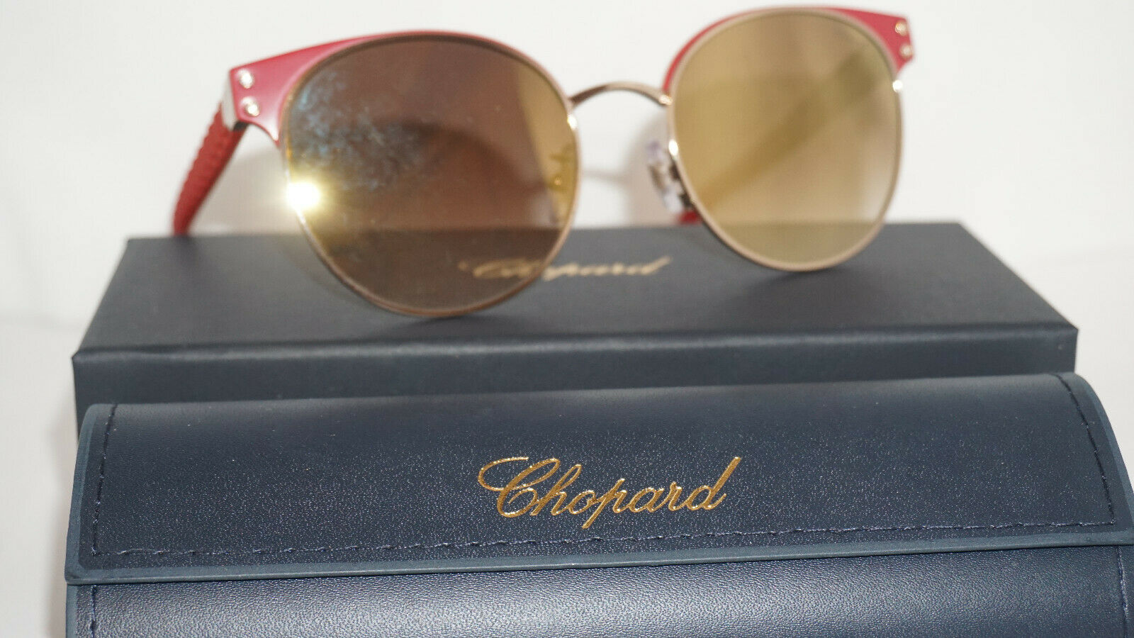 Chopard Sunglasses New Red Crystals Silver Gold Mirror SCHB70S H60G 53 19 140