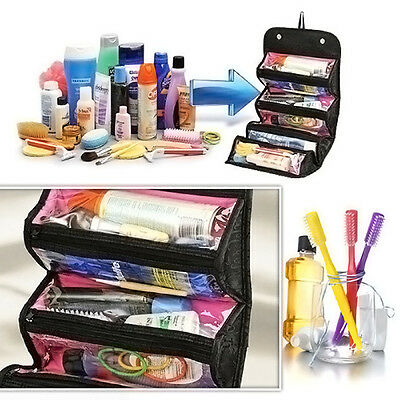 Portable Cosmetic Organizer Roll Up Makeup Organizer Case Travel Toiletry Bag
