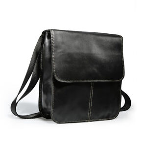 Real Leather Men's Casual Small Briefcase Messenger Shoulder Bag Crossbody Black