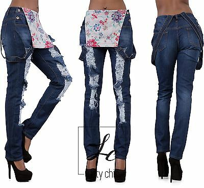 Ladies Women High Waist Blue Denim Plus Size Dungarees Jeans Overalls Size 14-22