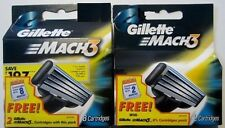 Pack of 8 Cartridges Gillette MACH 3 Razor Blades + Pack of 2 MACH 3 Free!