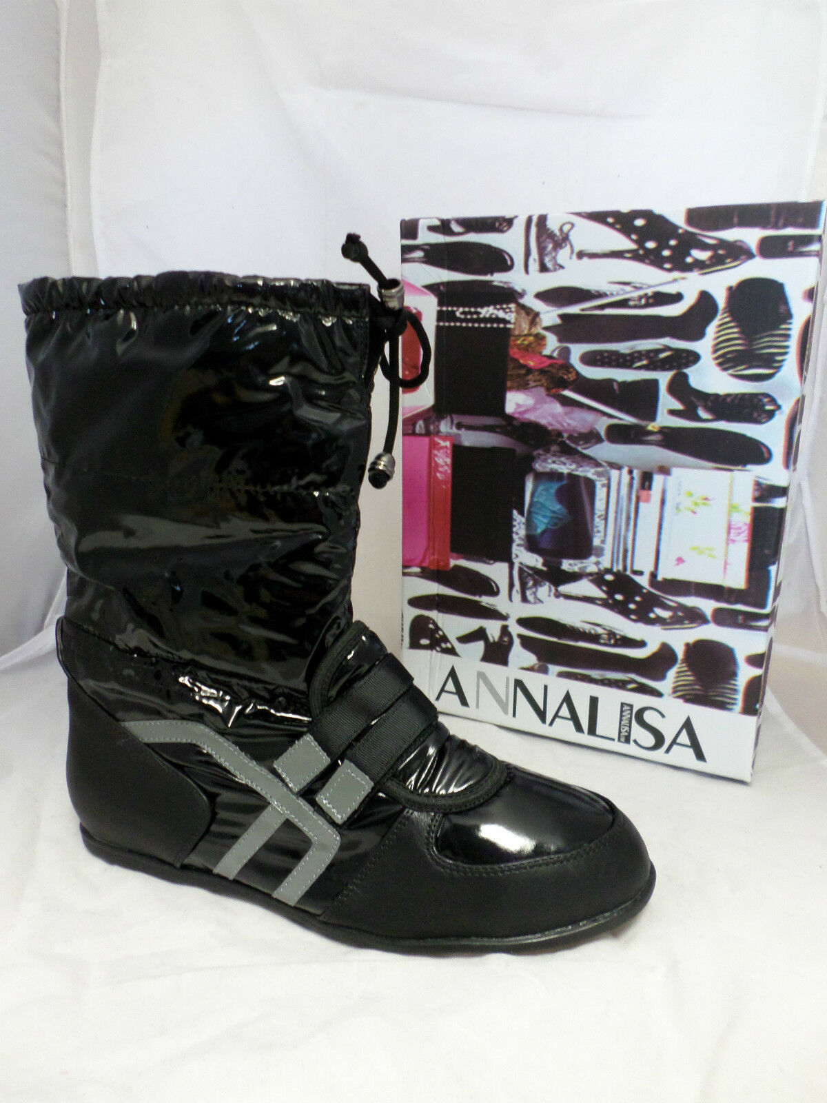 Annalisa J.M Black Patent Sport Style Boots All Sizes EM15 75 SALEw