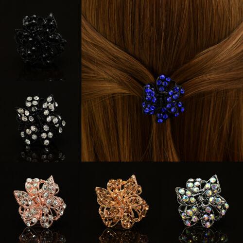 Blume HaarClip Haarklammer Schmetterling Haarkneifer mit Strass Blau Gold Silber