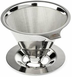 Stainless-Steel-Paperless-Pour-Over-Coffee-Maker-Reusable-Dripper-Cone