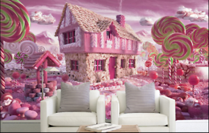 3D Lollipop Pink Hut 9 Wall Paper Murals Wall Print Wall Wallpaper Mural AU Kyra