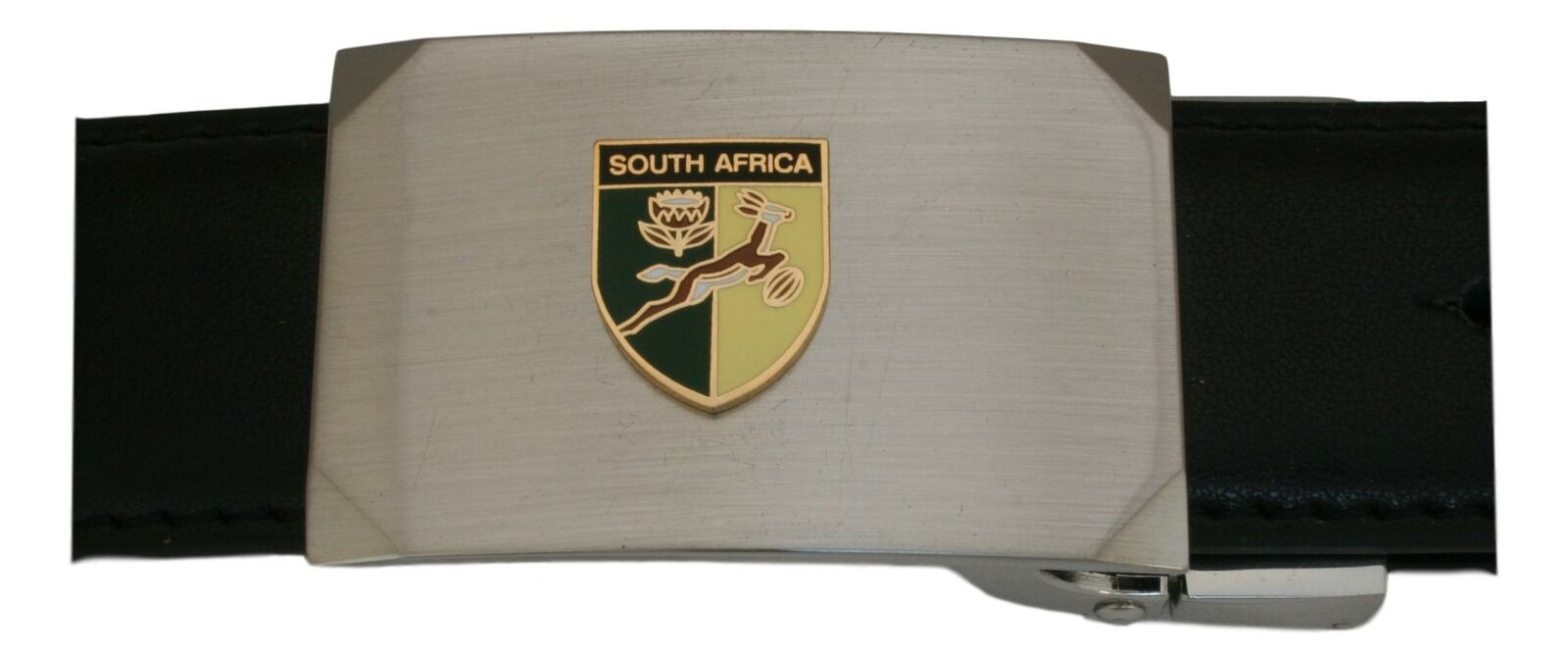 South African Shield Leather Belt and Buckle Set In Gift Tin Mens Gift 481