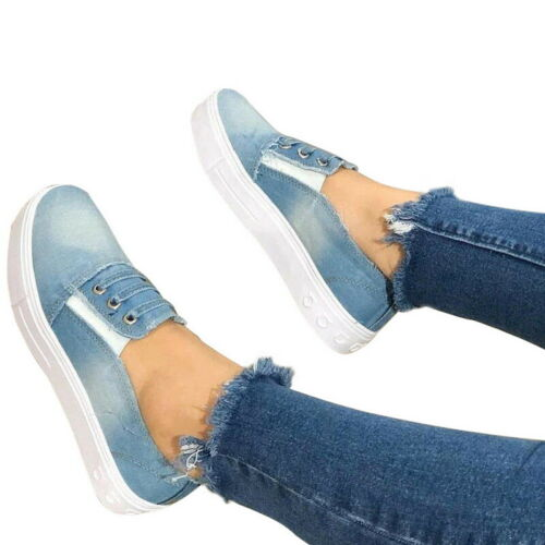 Lady/'s Denim Canvas Loafers Pumps Casual Slip On Flat Trainers Sneakers Shoes R