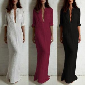 Women-Retro-Ethnic-Boho-Cotton-Long-Sleeve-Maxi-Dress-Blouse-Shirt-S-5XL-M0L5