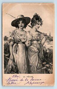 VICTORIAN-WOMEN-FISHING-ARM-IN-ARM-PRE-1908-FRANCE-POSTCARD-GENDER-STUDIES