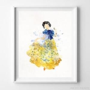 Cinderella Carriage Wall Art Disney Watercolor Poster Nursery Decor UNFRAMED