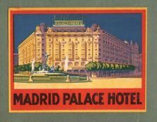 RARE Hotel luggage label Spain Madrid Palace   #382a