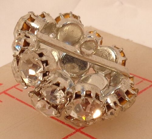 1 Vintage Large Domed Rhinestone Button Pearl Center Silver Crystal 30mm #442