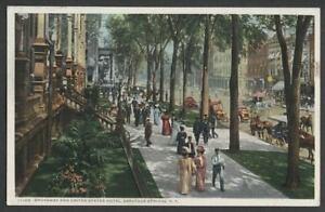 Saratoga-Springs-NY-c1910-Postcard-BROADWAY-UNITED-STATES-HOTEL-by-Detroit-Pub
