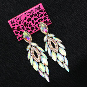 Betsey-Johnson-Colorful-AB-Crystal-Feather-Dangle-Earbob-Women-039-s-Earrings-Gift
