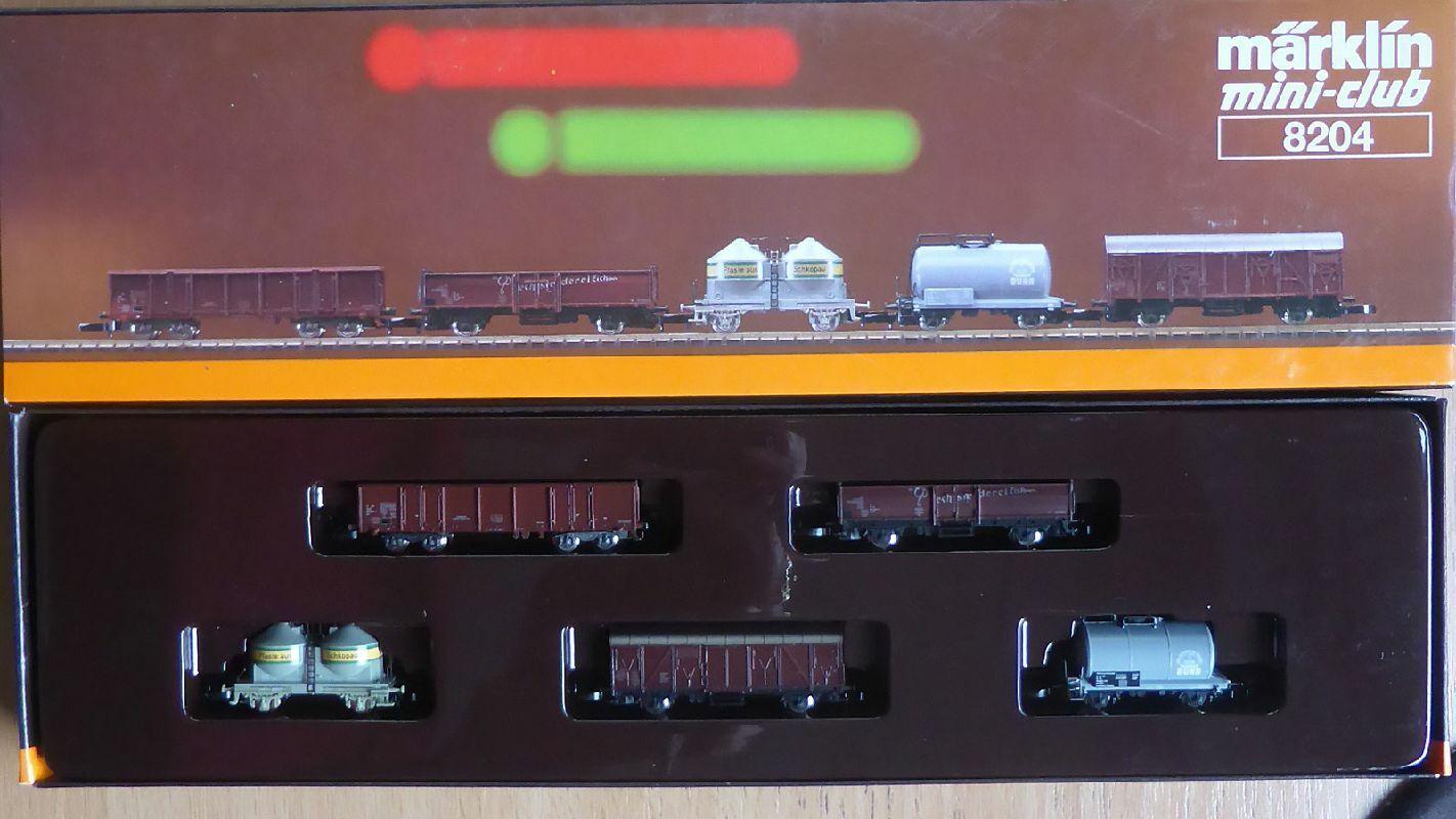 marklin Z miniclub 8204, i beni Wagenset ex RDT, mattoncini in scatola originalel011