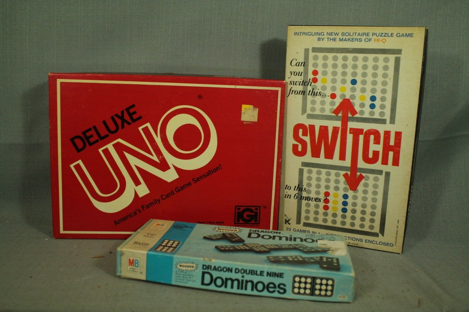 Lot 3 Jeux Vintage Dragon Bois Dominos Switch Kohner Bros Uno Deluxe Edition