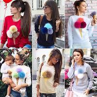 Mode Damen Pullover Pulli Tunika Shirt Sweater Jumper Tops Hoodie Oberbekleidung