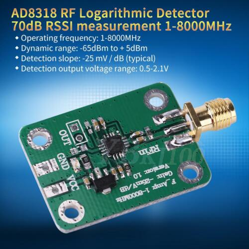 1-8000MHz AD8318 RF Logarithmic Detector 70dB RSSI Measuring Power Meter Modul ✪