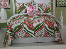 Trina Turk Residential TIGER LEAF Twin Coverlet & Sham ~ Green, Pink & White NEW