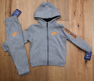 a55de481b Nike Baby Boy 2 Piece Hooded Jogging Set ~ Gray & Orange ~ Just Do ...