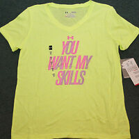 Under Armour Xl Girls Yellow/pink You Want My Skills Heat Gear Shirt Yxl