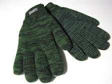 Men's Thinsulate Thermal Insulation Knit Gloves Green Black Cold Weather Sport L