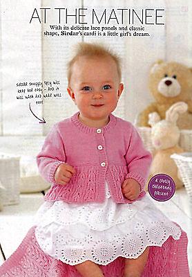 KNITTING PATTERN BABY TODDLER CHILD 0-7yrs LACE-PANEL CARDIGAN BUTTON-UP SKM AUA