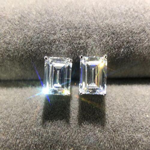 2 GMS Rectangle Created Moissanite Stud Earrings  925 Sterling Silver 5*7 MM