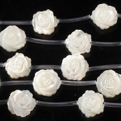 0199 12x6mm Mother of pearl MOP shell rose flower loose beads 15pcs (Both sides)