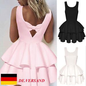 Damen-Tutu-Armellos-Rueckenfrei-Schmetterling-Cocktail-Damenkleid-Minikleid-kleid