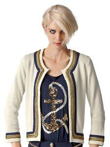 08038 Blazer Jacket Ladies Moda Blanc Crème Cardigan Alba 6OTgqx