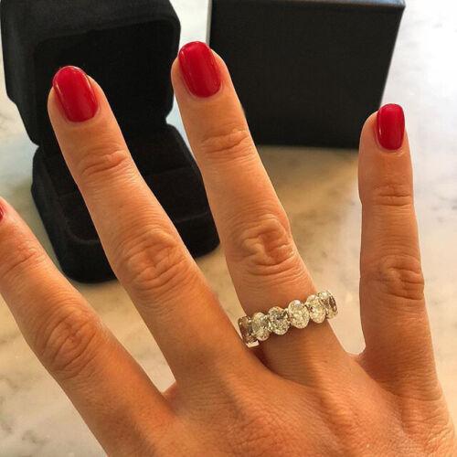 6Ct Oval Cut Diamond Women Wedding Band Ring 14K White Gold Finish Ice Eternity