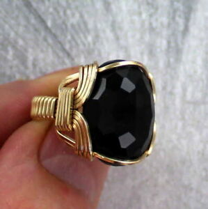 Faceted-Black-Onyx-Gemstone-Ring-in-14kt-Rolled-Gold-Wire-Wrapped-Size-5-to-15