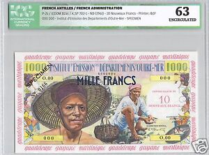 Antilles French Specimen 1000 Francs Overload 10 Nf (1961) Pick 2s Rare