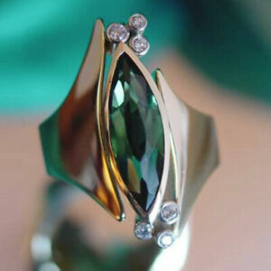 ROSE GOLD FILLED ART DECO STYLE OVAL EMERALD TOPAZ WITH WHITE ZIRCONIA SIZE R3/4