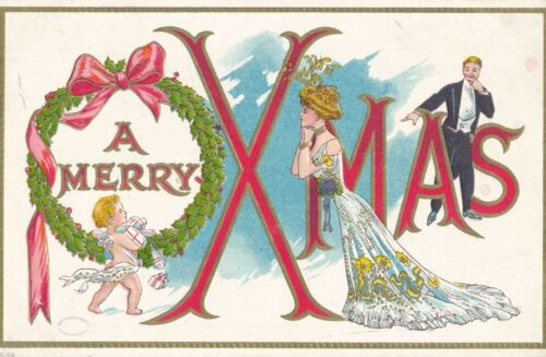 "1910 ""A Merry Christmas"" Cupid, Bride and Groom Embossed Postcard"