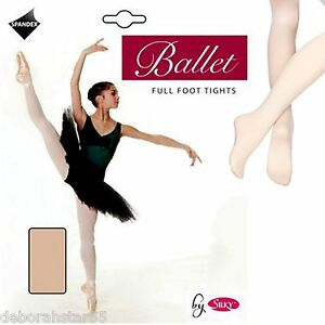 9ab4b063667c6 2 Pairs Silky Girls Childrens Full Foot Footed Spandex Ballet Dance ...