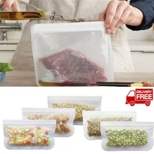 Reusable Silicone Food Storage Bags Stasher Wrap Seal Bowl Vacuum Kitchen