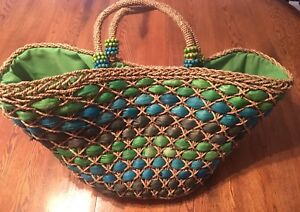 8478c5f40 Sun N Sand Extra Large Green & Blue Woven Straw Tote Beach Bag NWT ...
