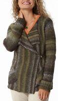 Royal Robbins Manu Sweater Wrap Asymmetrical Cardigan Green Stripe Medium M