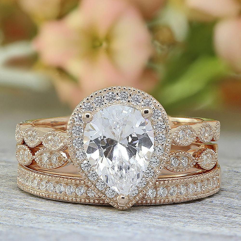 Pear-Cut Diamond Vintage Style Ladies Engagement 3 PCS Set Real 10k pink gold